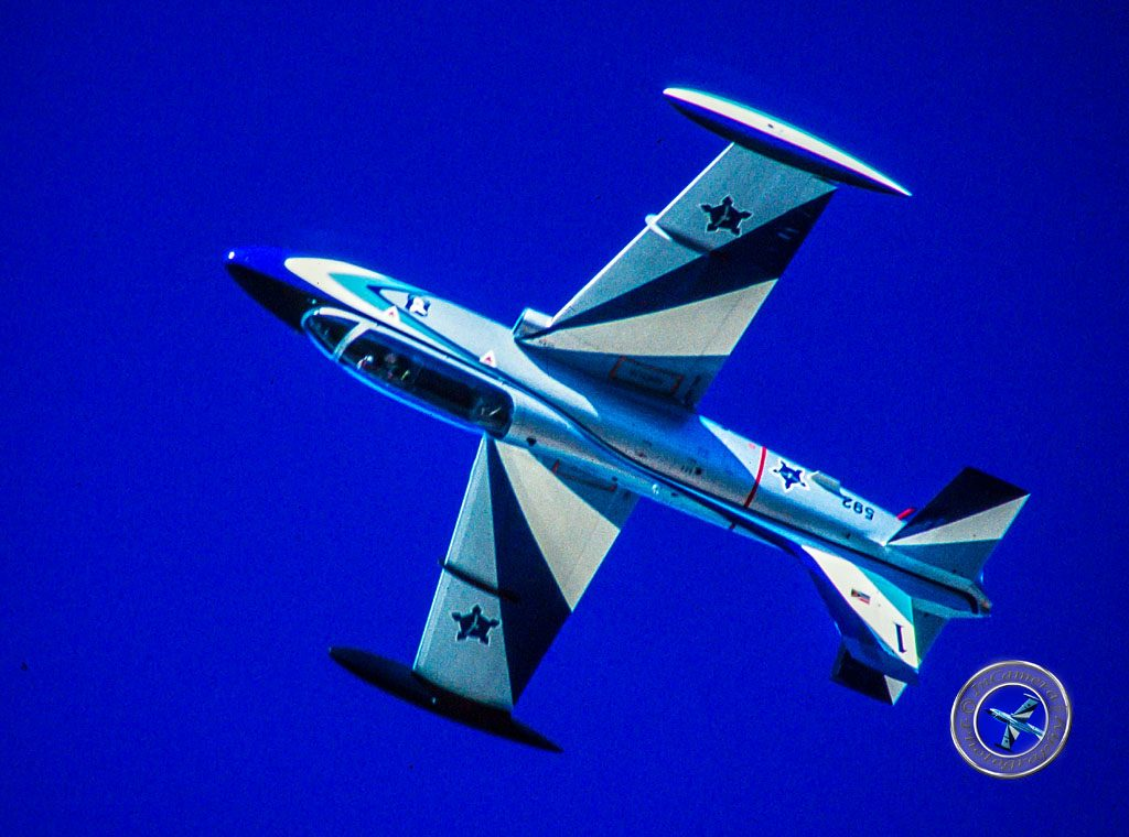 Falcon 1 of the Silver Falcons at an Airshow 2000