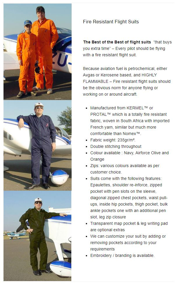 Fire Resistant Flight Suits