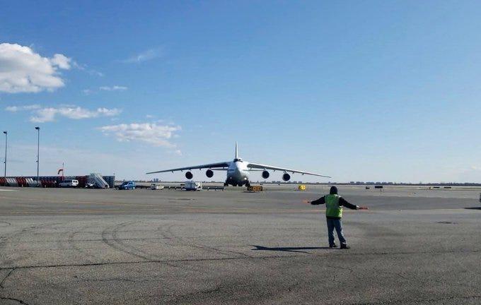 Russian Airforce Antonov A124 lands at JFK International Airport.