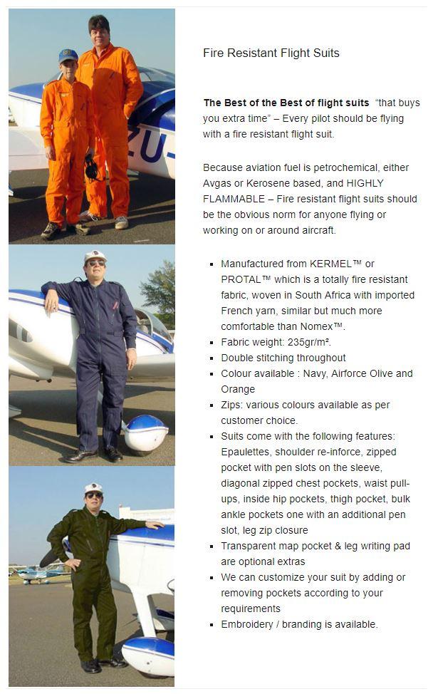 Fire Resistant Flight Suits