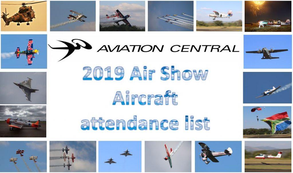 2019 Air Show Aircraft attendance list